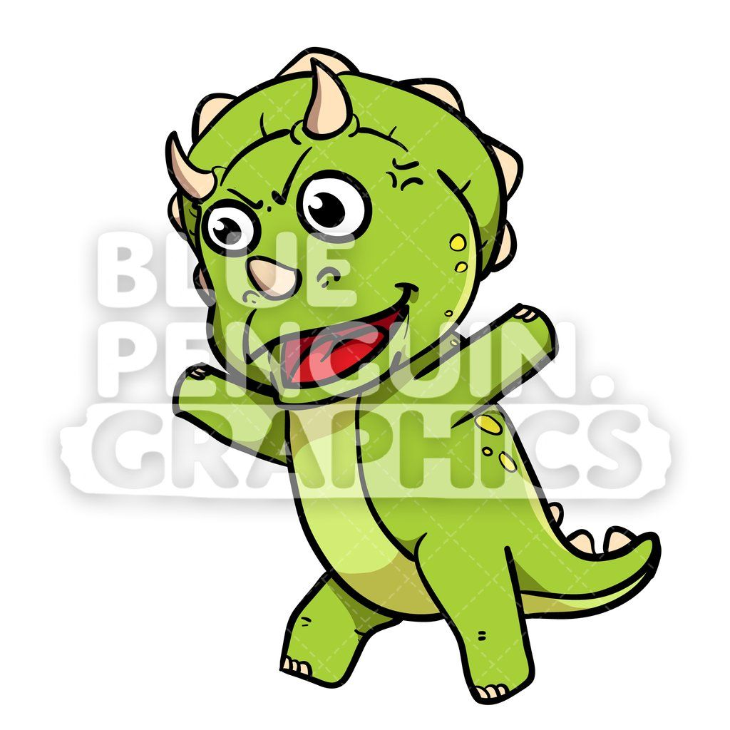 Cute Green Dino Angry Vector Cartoon Clipart.