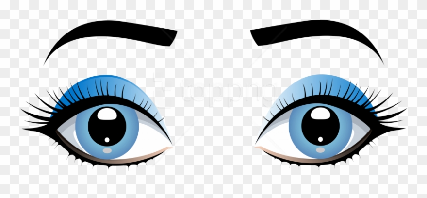 Download Blue Female Eyes With Eyebrows Clipart Png.