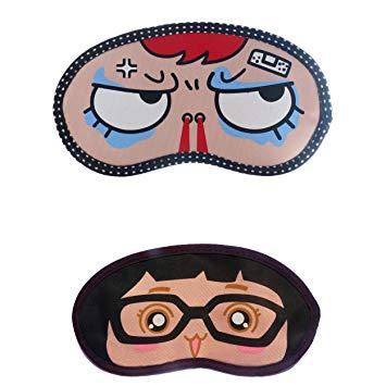 Jenna Angry Girl Specs Cartoon Face Sleeping Eye Mask (Pack.