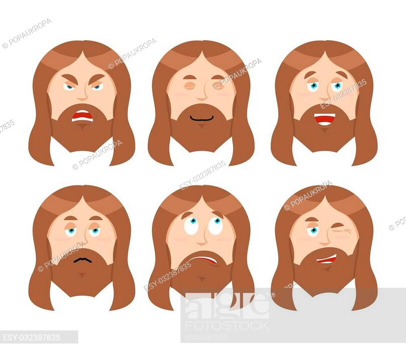 Jesus Emotions. Set expressions Picture of Jesus Christ.