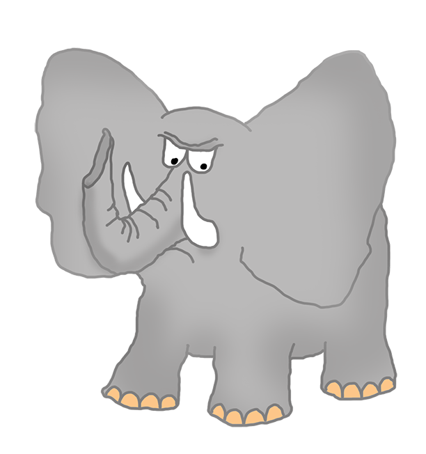 Angry elephant clipart.
