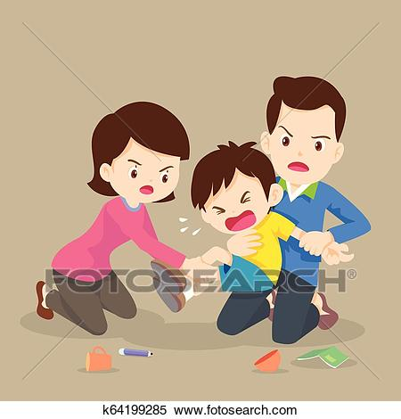 Father and Mother handle angry boy Clipart.