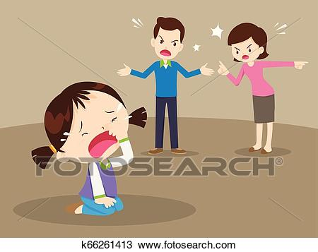 Angry family quarreling with crying girl Clipart.