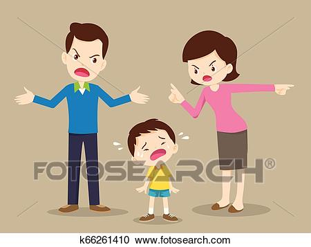 Angry family dad and mom quarreling Clipart.