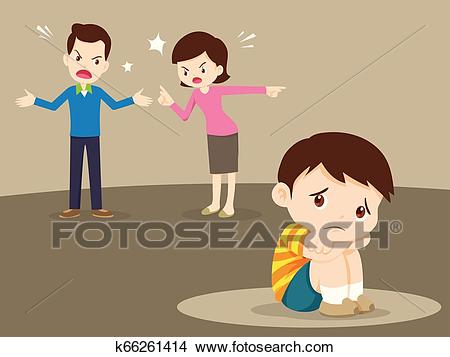 Angry family quarreling with sad boy Clipart.