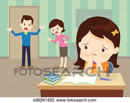 Angry family quarreling with sad Daughter have homework Clipart.