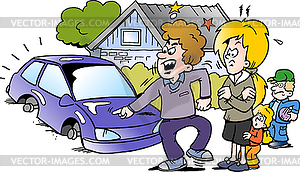 Cartoon angry family man pointing at his new auto.