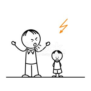 Angry father and sad boy Clipart Image.