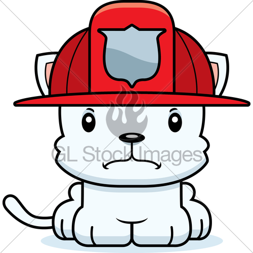 Cartoon Angry Firefighter Kitten · GL Stock Images.