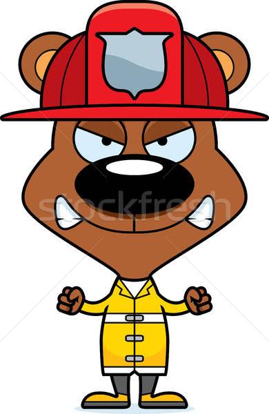 Cartoon Angry Firefighter Bear vector illustration © Cory.