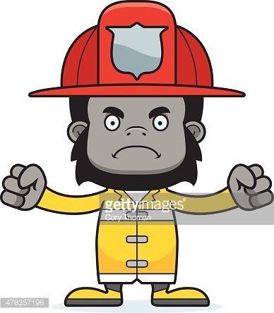 Cartoon Angry Firefighter Gorilla stock vectors and.