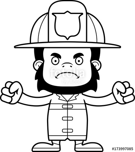 Cartoon Angry Firefighter Gorilla\