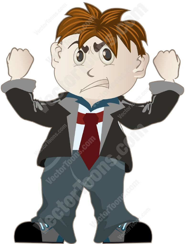 Boy in a suit standing and shaking his fists in the air.