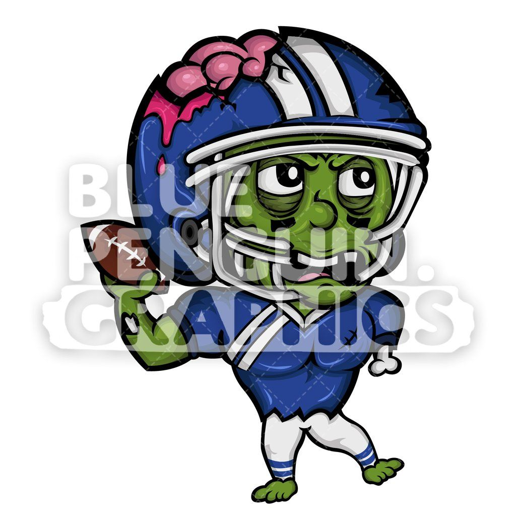Angry Football Player Zombie Vector Cartoon Clipart.