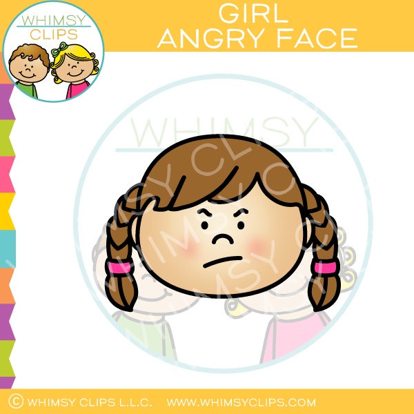 Girl Angry Face Clip Art.
