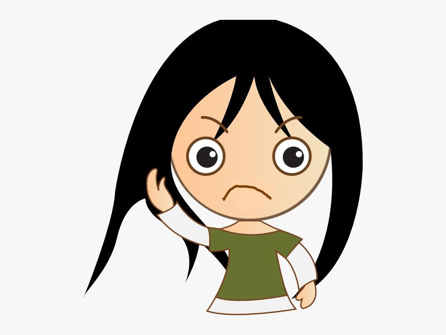 Clipart Of Sad, Cingular And Angry Teenage Girl.