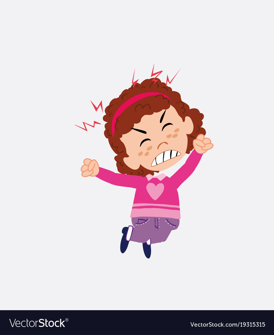 White girl with sweater jumps angry vector image on VectorStock.