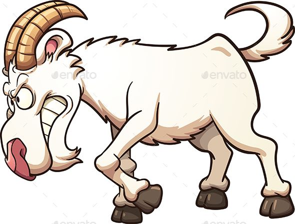 Angry cartoon goat ramming. Vector clip art illustration.