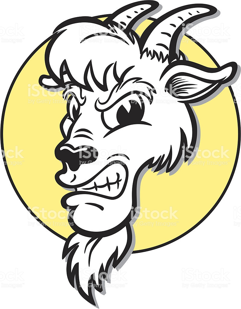 Angry Goat Mascot Stock Illustration.
