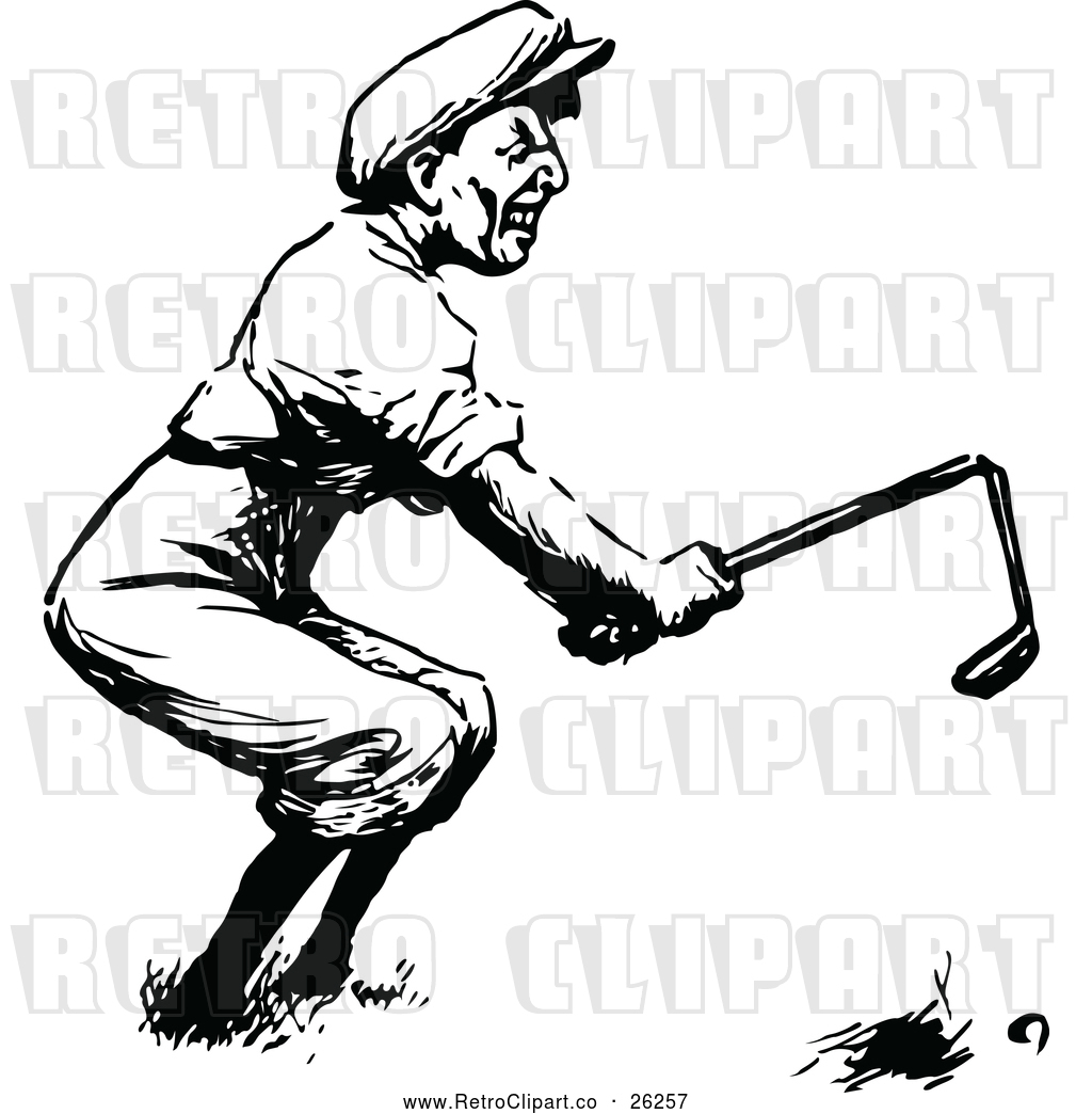 Vector Clip Art of Retro Angry Golfer Breaking a Club by.