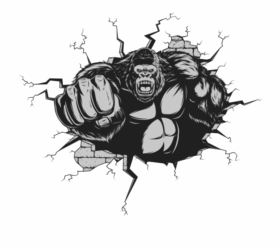 Svg Free Gorilla Ape Cartoon Punches.