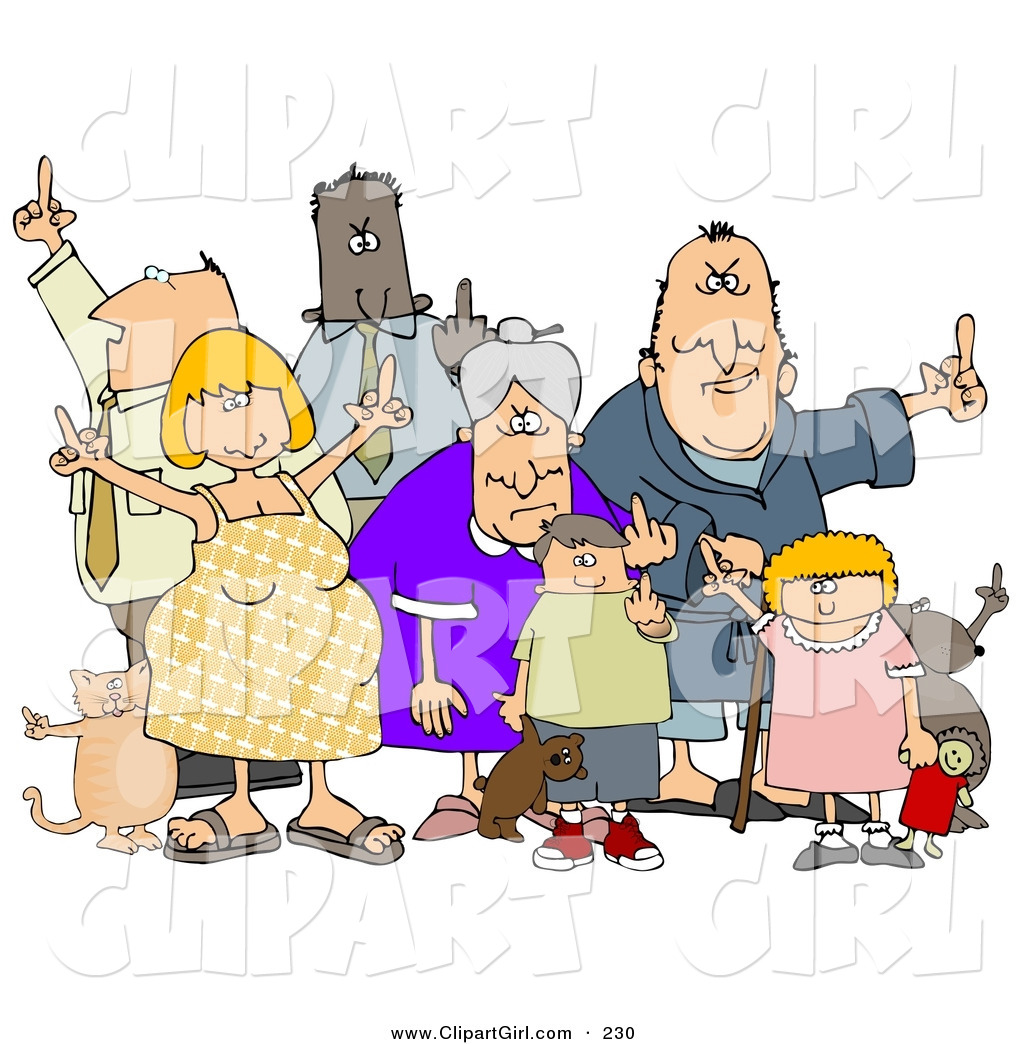 Group Of Mad People Clipart.