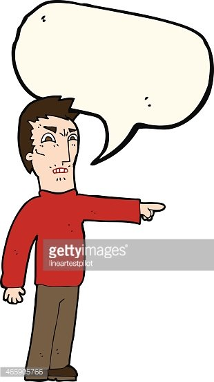 cartoon angry man pointing with speech bubble Clipart Image.