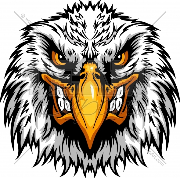 Angry Eagle Head Clipart Mascot Graphic Vector Clipart Logo.