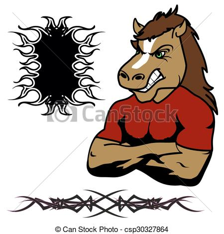 angry horse muscle cartoon set.