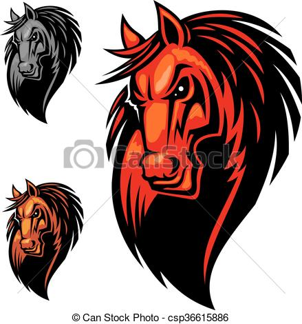 Wild angry horse head mascot.