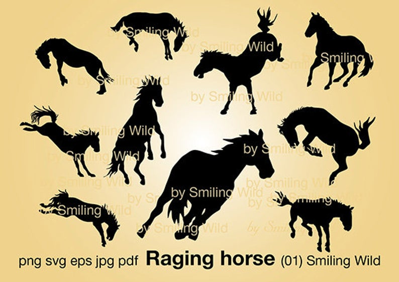 Raging wild horse svg silhouette clipart cut file angry horse design png  cuttable mustang horse vector graphic.