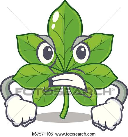 Angry horse chestnuts in the mascot stem Clipart.