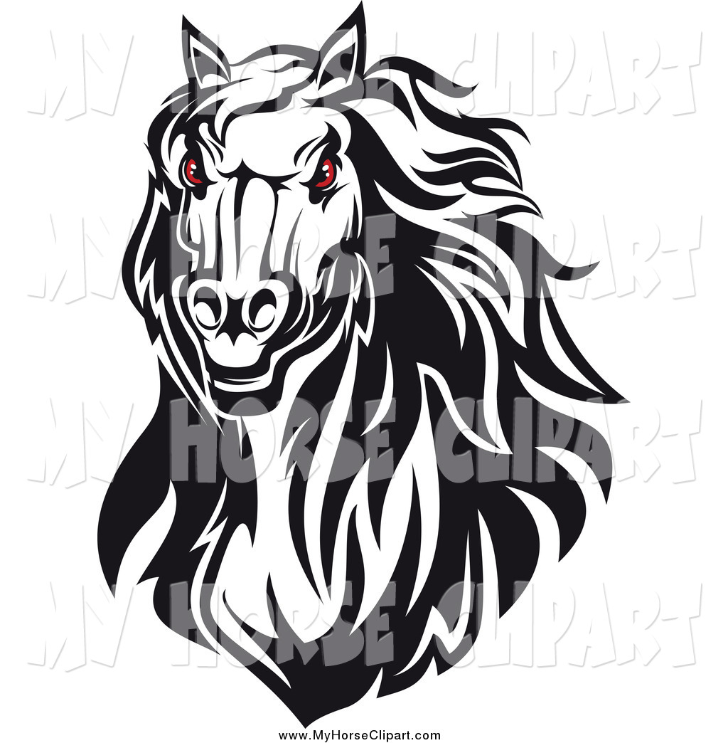 Clip Art of a Red Eyed Angry Black and White Horse Head by Vector.