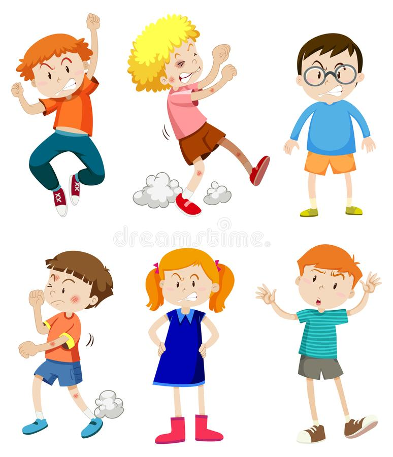 Angry Kids Stock Illustrations.