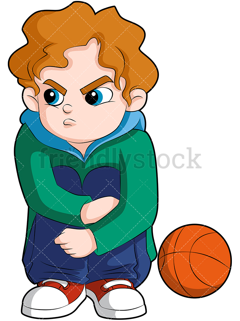 A Young Basketball Player Sitting On The Sideline Looking Angry.