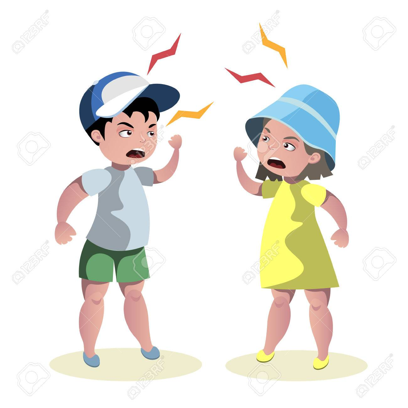Small angry kids quarrel.
