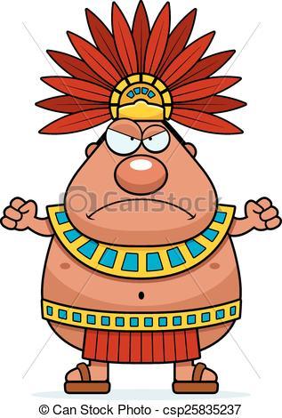 Angry Cartoon Aztec King.
