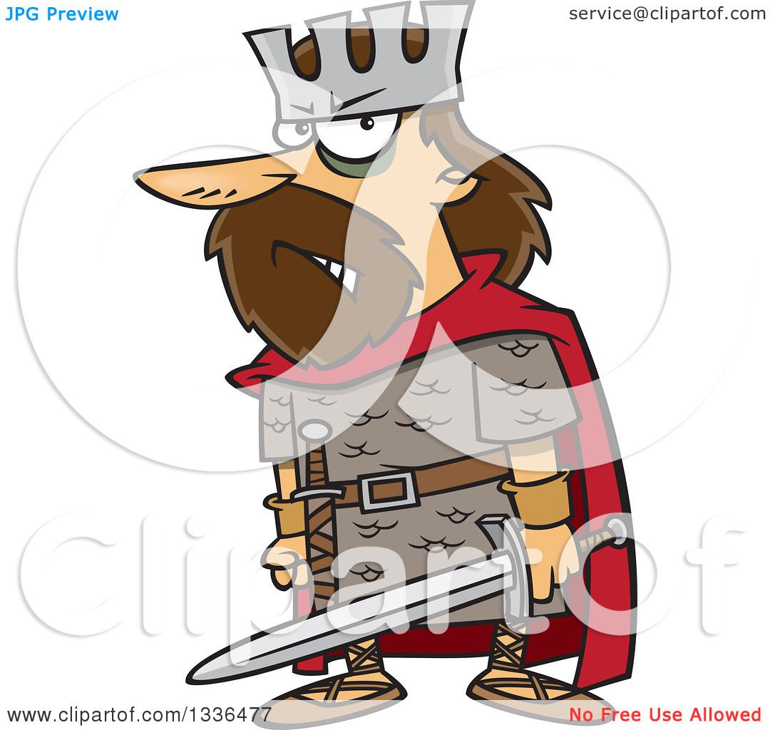 Clipart of a Cartoon Angry King, Macbeth, Holding a Sword.