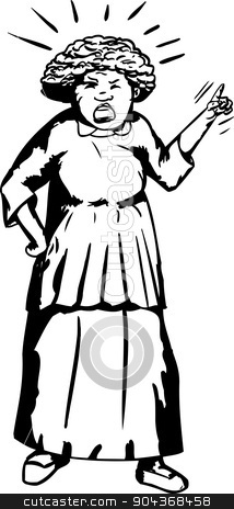 Outline of Mad Woman Pointing stock vector.