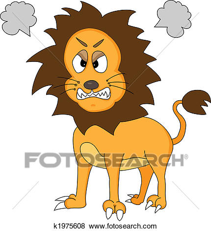 Cute Angry Lion Clip Art.