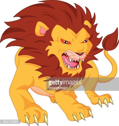 Angry Lion Cartoon premium clipart.