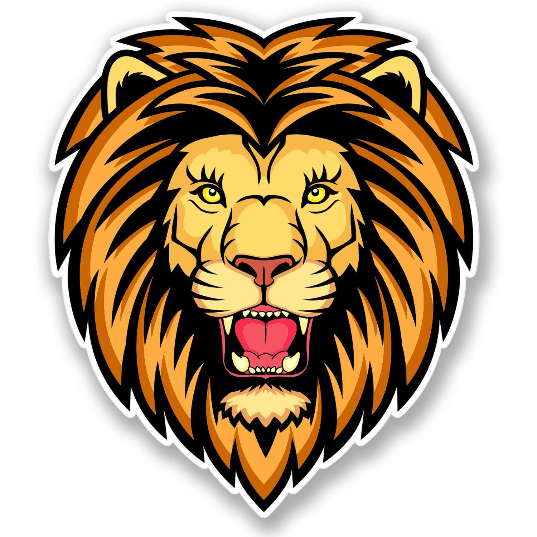 2 x Angry Lion Vinyl Sticker Decal iPad Laptop Mascot Car.