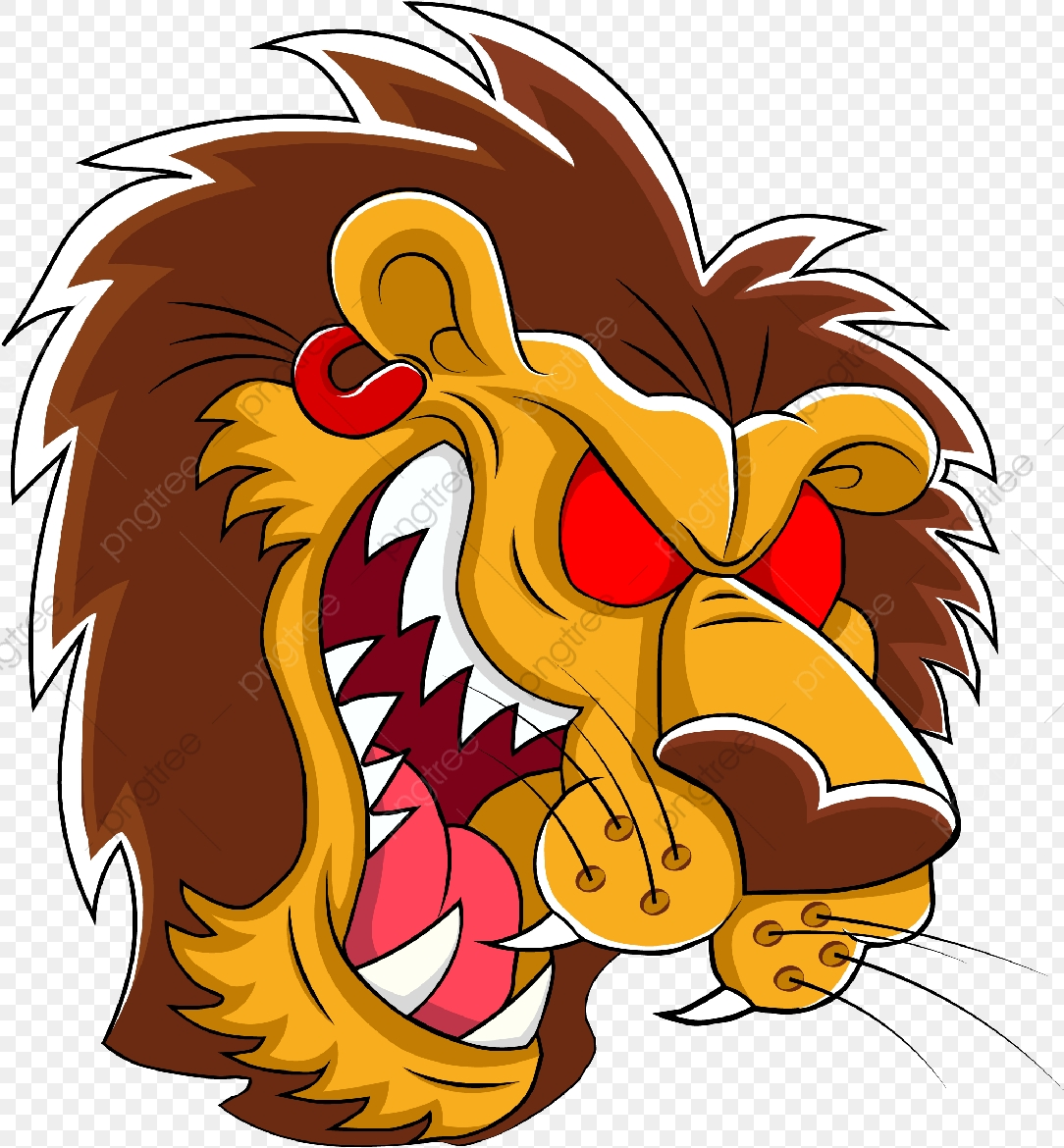 Angry Lion, Png, Animal, Beast PNG and Vector with Transparent.