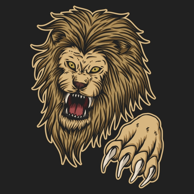 Angry Lion Attack Vector Illustration, African, Aggression, Anger.