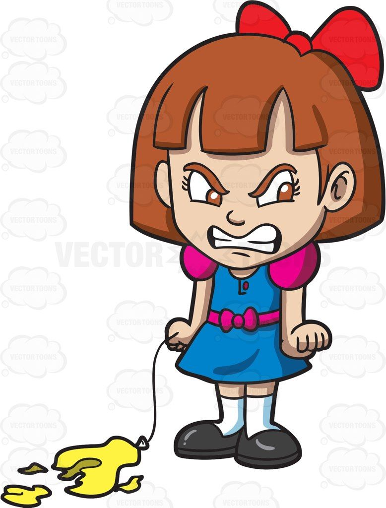 An angry little girl with a popped balloon #cartoon #clipart.