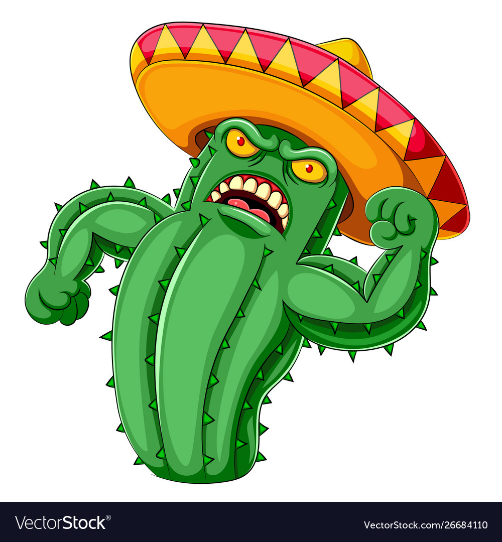 A cactus angry with sombrero.