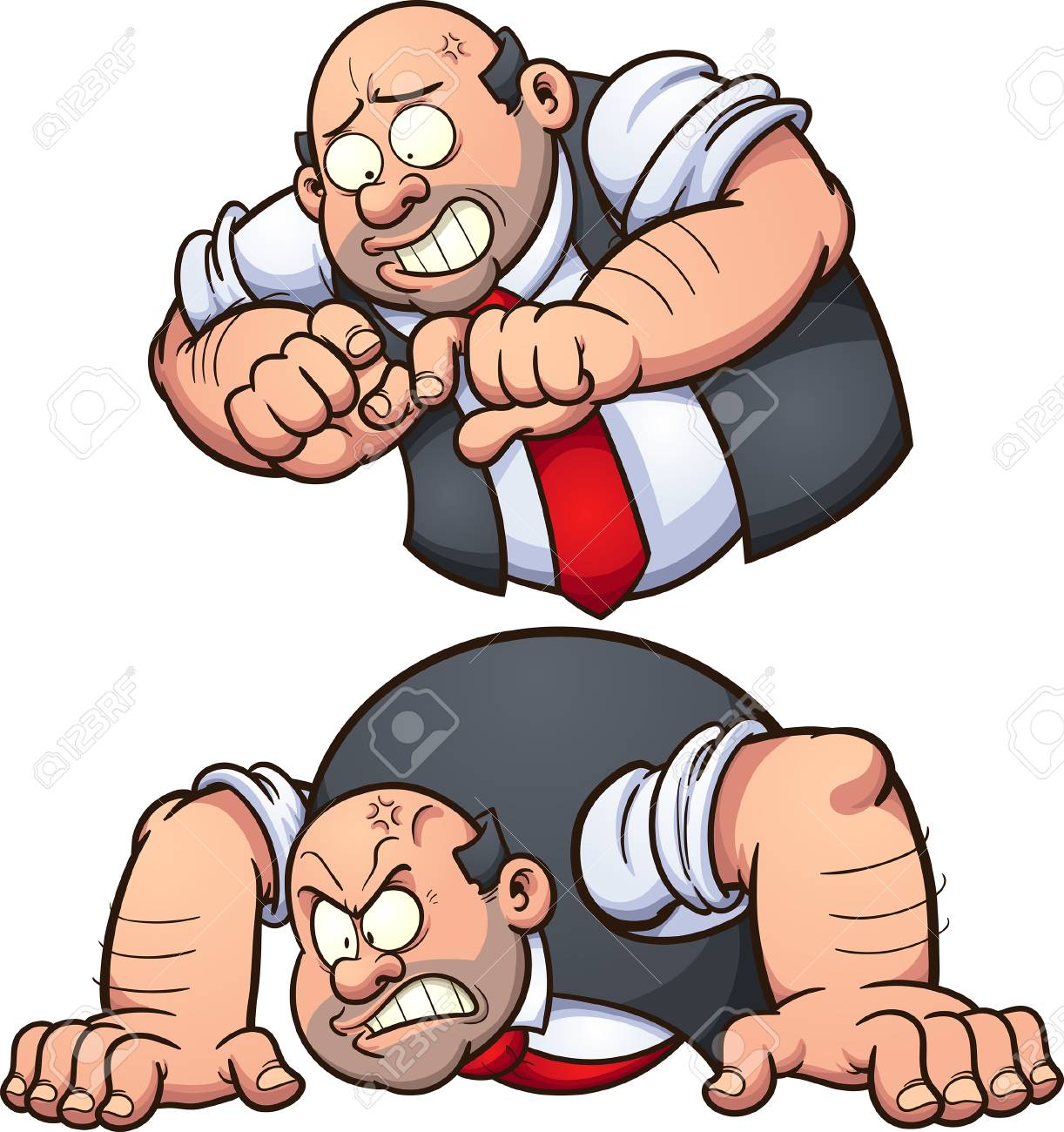 Angry man in two different poses. Vector clip art illustration...