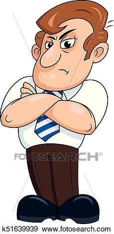 Angry man with arms crossed Clip Art.