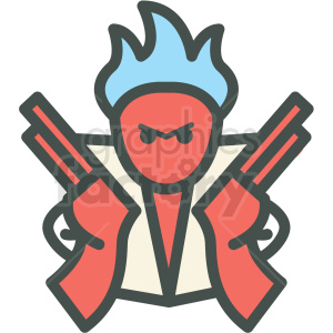 angry man with guns vector icon . Royalty.