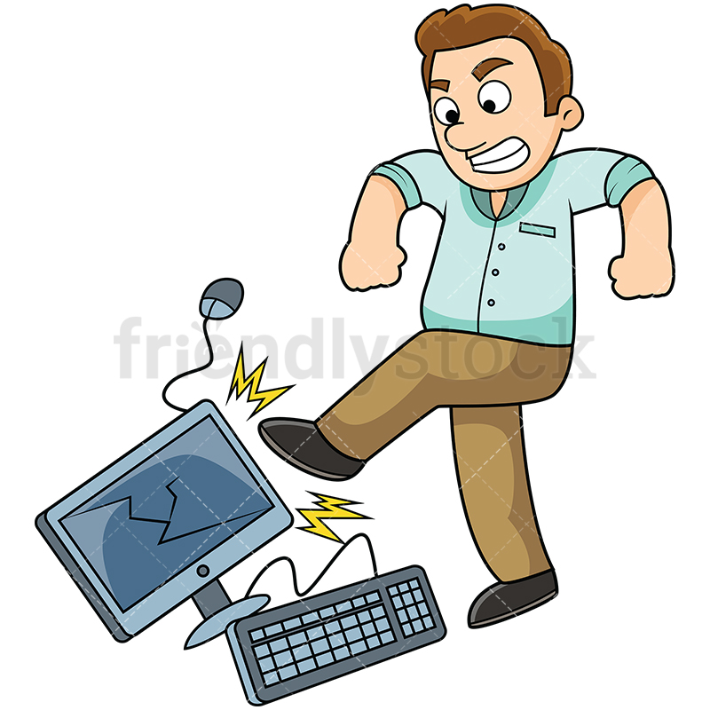 Frustrated Man Kicking Computer.